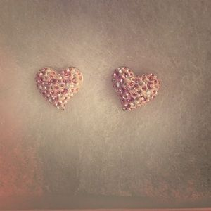 Pink Swarovski Crystals Heart Stud Earrings